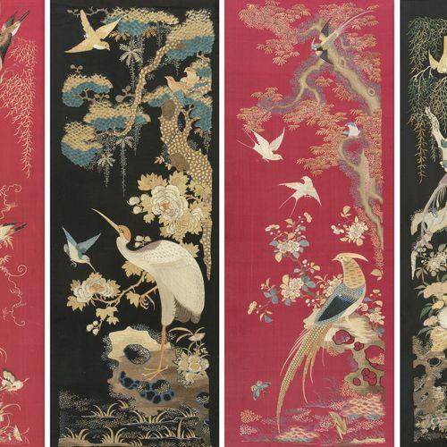 Lot: 4 Seidenstickereien Lot : 4 broderies en soie  Chine, début du XXe siècle S…