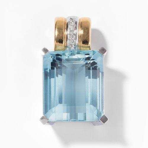 Aquamarin Brillant Anhänger Pendentif aigue marine diamant  Or jaune/blanc 750. …