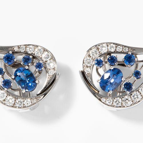 Saphir Brillant Ohclips Boucles d'oreilles en diamant saphir  Or blanc 750. Bouc…
