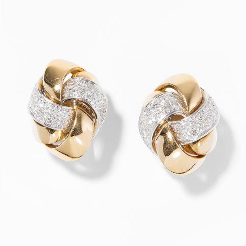 Brillant Ohrclips 辉煌的耳夹  大师,苏黎世。750黄金/白金。节点,部分有明亮式切割密镶钻石,约2.80克拉,3x2厘米,29.1克。
