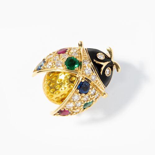 Email Edelstein Marienkäfer 搪瓷宝石瓢虫  大师,苏黎世。750黄金。黑色和黄色珐琅,镶嵌有祖母绿,红宝石,蓝宝石和钻石。2厘米,6…