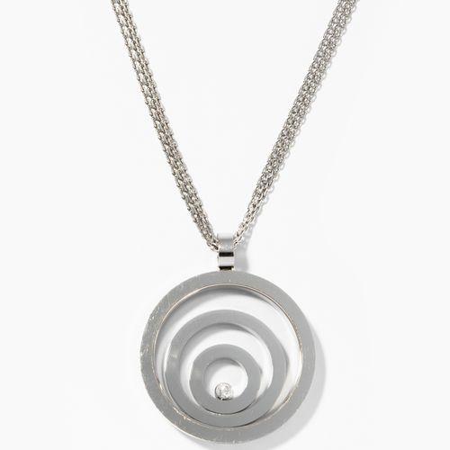 "Chopard Brillant Anhänger mit Kette 萧邦钻石吊坠与链条  快乐的精神。750白金。有签名和编号的 ""萧邦79/5431 20…"