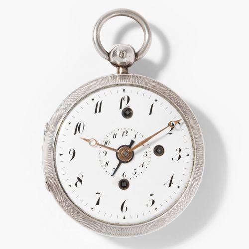 Spindeltaschenuhr mit Wecker, Frankreich, um 1800 带闹钟的纺锤形怀表,法国,约1800年。  Guilloch…