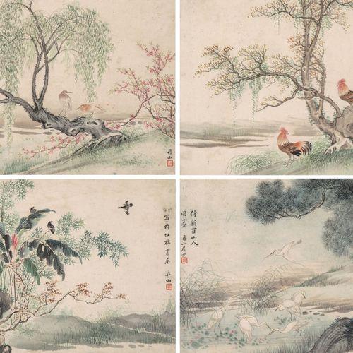 4 Malereien 4 tableaux  Chine, XXe siècle. Encre et peinture sur papier. Signé D…