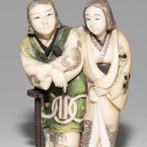 NETSUKE Netsuke  Japon, période Meiji. Ivoire, partiellement peint et incrusté d…