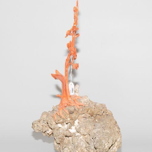 Zierfigur 观赏性人物  中国,20/21世纪,粉红珊瑚在死珊瑚石上,有化石的内含物。在未经处理的毛石上雕刻的兰花。高39厘米。