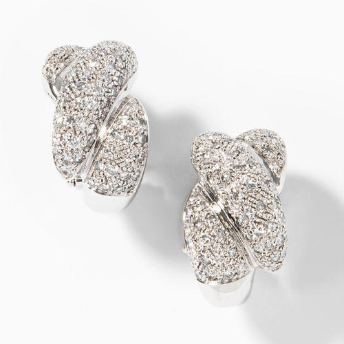 Brillant Ohrclips 明亮切割的钻石耳夹  750白金。经典的夹子与明亮式切割密镶钻石,约3.40克拉。带针脚。24,1 g.