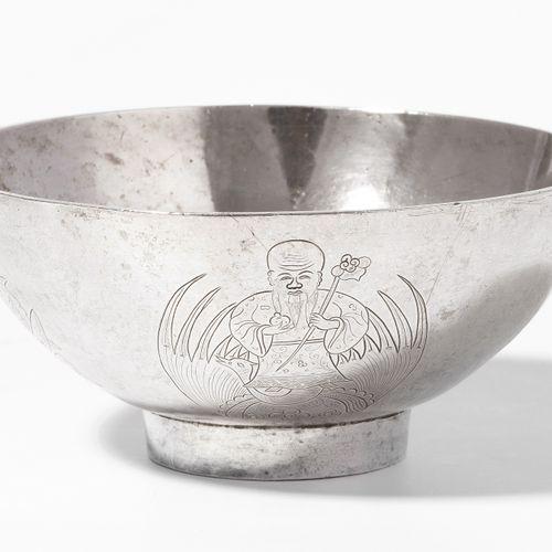 BOL 博尔  中国,19世纪,银质两个中国银质印记。在外墙上刻有凤凰的神仙,以及蝙蝠、石榴和桃子。高6,长12,4厘米。约432克。