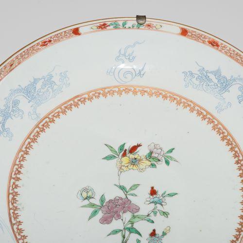 1 Paar Platten 1对盘子  中国,约1900年。 瓷器。以印度公司的方式进行的多色花卉装饰。旗帜上有龙和凤的贴纸。D 37厘米。 损害。