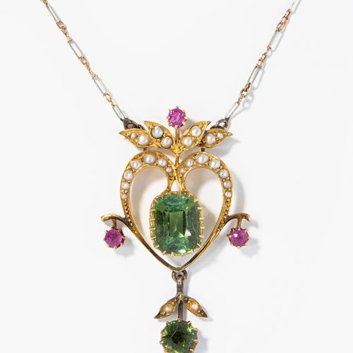 Turmalin Rubin Perlen Collier Collier de perles de tourmaline et de rubis  Édimb…