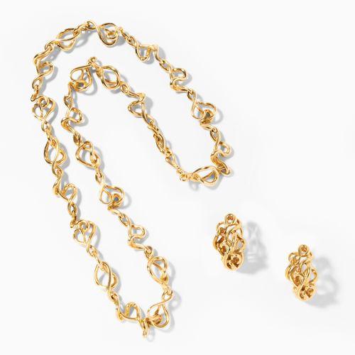 Gilbert Albert Gold Set 吉尔伯特 阿尔伯特黄金套装  750黄金。项链/耳夹。长49厘米。总重量为77.8克。