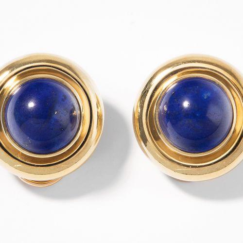 Tiffany Lapislazuli Ohrclips Boucles d'oreilles Tiffany en lapis lazuli.  Signé …