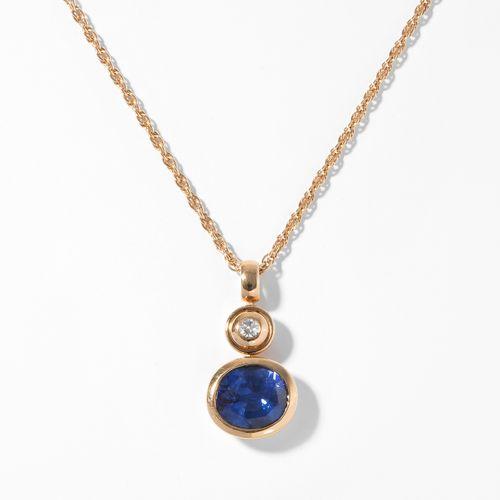 Saphir Brillant Anhänger mit Kette Pendentif en diamant saphir avec chaîne  Or j…