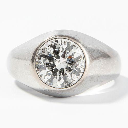 BRILLANT RING Bague brillante  Or blanc 750. Brillant d'environ 2 ct H/I P1/2. T…