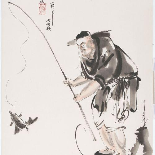 Lot: 3 Malereien von Du Baiyang (1917–2000) 拍品:杜白阳(1917 2000)的3幅画。  纸上水墨和颜料。三只驴子…