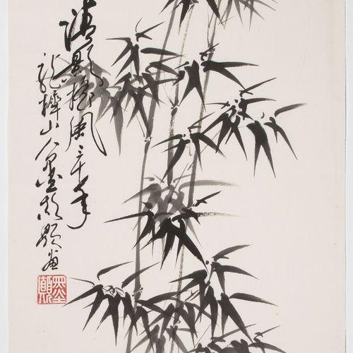 Lot: 5 Malereien Lot : 5 tableaux  Chine, XXe siècle. Encre et peinture sur papi…