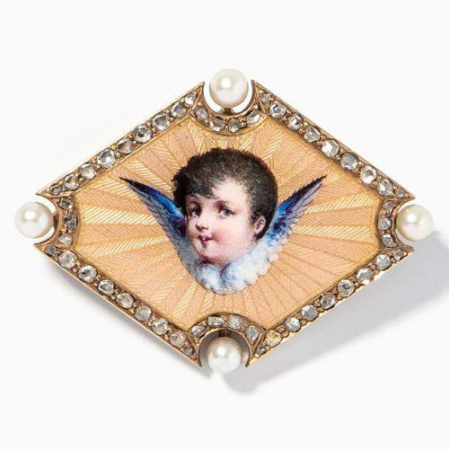 Email Diamant Perlen Brosche Broche en émail et perles de diamant  Vers 1900, or…