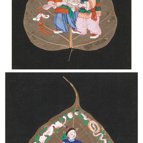 Malerei auf zwei Blattadern Peinture sur deux nervures de feuilles  Chine, 2e mo…
