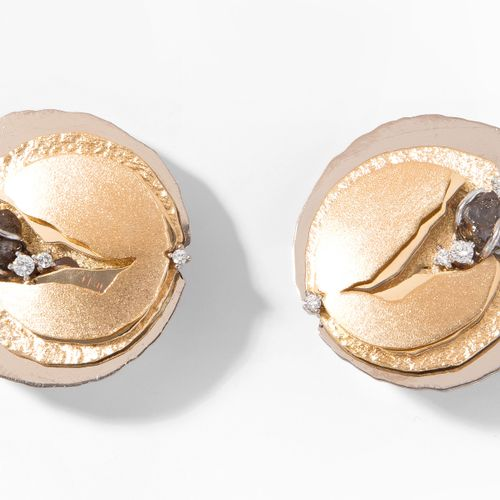 DIAMANT OHRCLIPS Clips d'oreille en diamant  Or jaune/blanc 750. 2 diamants brut…