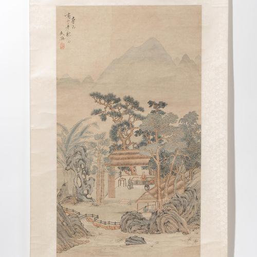 Malerei Peinture  Chine, XXe siècle. Encre et peinture sur papier. Signé Jiuzhou…