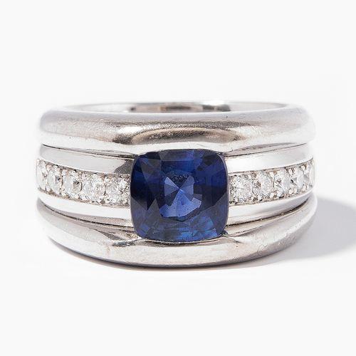 SAPHIR BRILLANT RING Bague en saphir et diamant  Or blanc 750. Coussin en saphir…