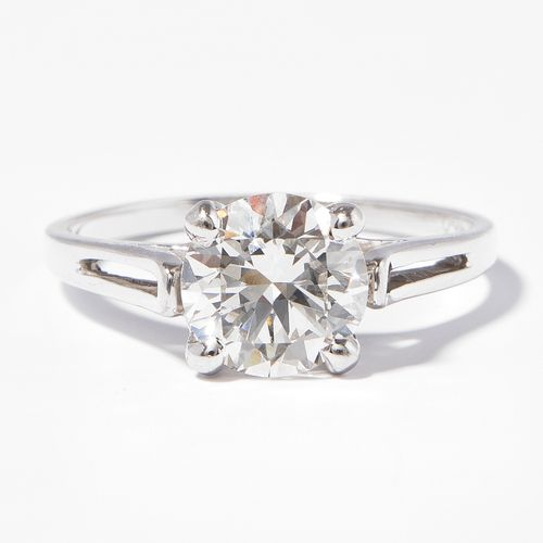 *Brillant Ring Bague brillante  Or blanc 750. Brillant d'environ 1,50 ct G/H vvs…