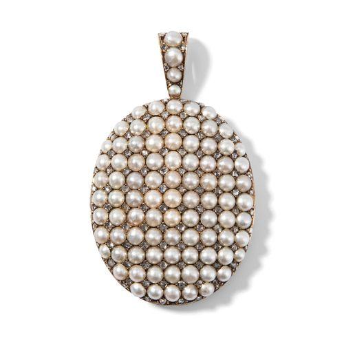 Naturperlen Diamant Anhänger Médaillon 天然珍珠钻石吊坠 Médaillon  英国,约1880年。585黄金。椭圆形Mé…