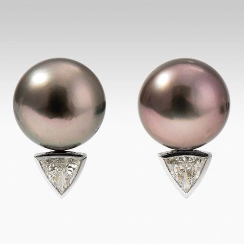 Kulturperlen Diamant Ohrclips Boucles d'oreilles en perles de culture et diamant…