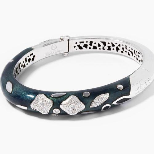Email Brillant Armreif Bracelet en émail et diamants  La Nouvelle Bague. Or blan…