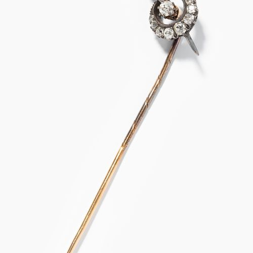 Naturperlen Diamant Krawattennadel 天然珍珠钻石领带夹  19世纪末的银/黄金。新月形图案,10颗老式切割钻石和1颗天然珍珠。…