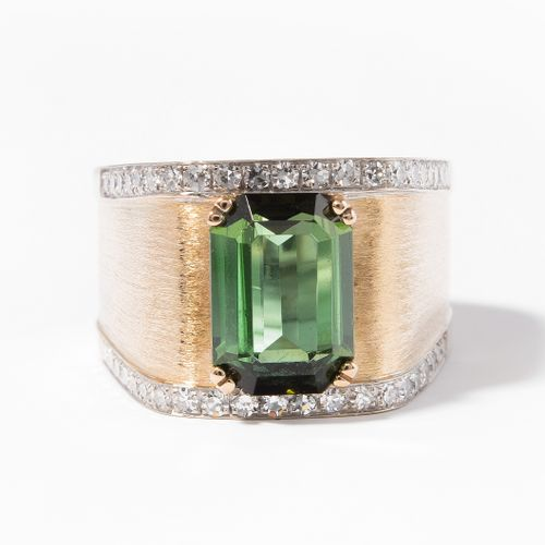TURMALIN DIAMANT RING Bague à diamant en tourmaline  Binder, Zurich. Or jaune/bl…