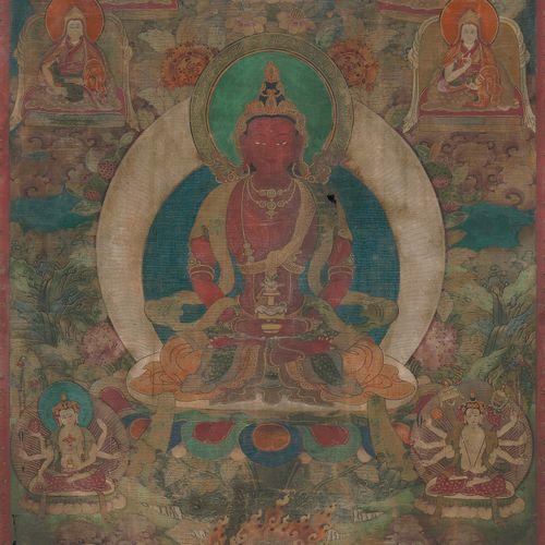 Thangka des Amitayus Thangka d'Amitayus  Tibet, XIXe siècle. Couleur sur toile. …