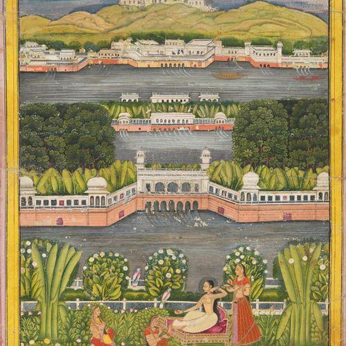Miniaturmalerei Peinture miniature  Inde, 19ème siècle. Rajasthan ou Pahari. Cou…