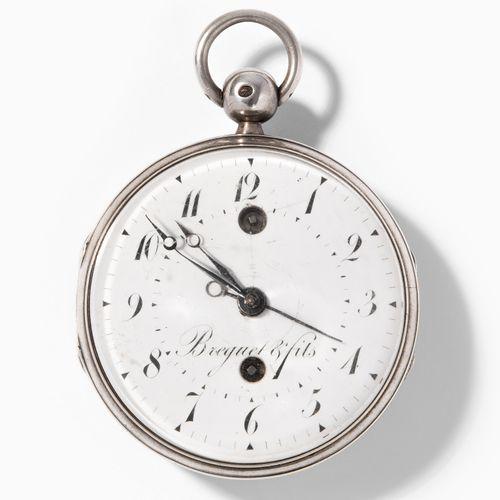 Spindeltaschenuhr mit Wecker, Frankreich, um 1810 带闹钟的纺锤形怀表,法国,约1810年。  银质表壳,内壁有…