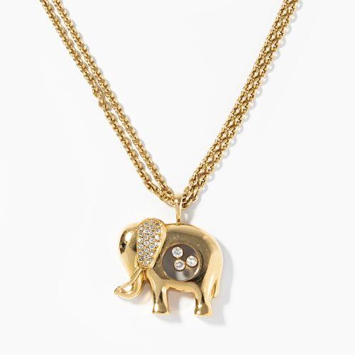Chopard Elefant Anhänger mit Kette Pendentif éléphant Chopard avec chaîne  Signé…
