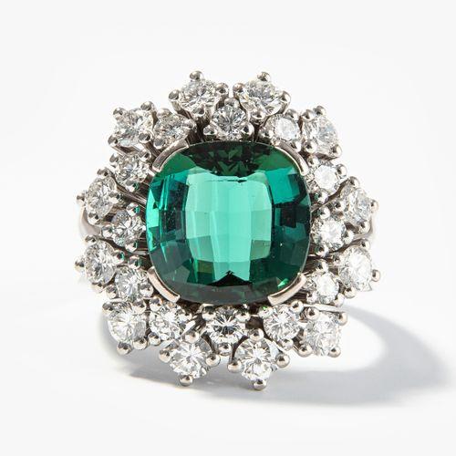 Turmalin Brillant Ring Bague à diamant en tourmaline  Or blanc 750. Fine tourmal…
