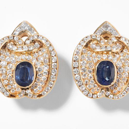 Saphir Diamant Ohrclips Clips d'oreille en diamant saphir  Or jaune 750. 2 faces…