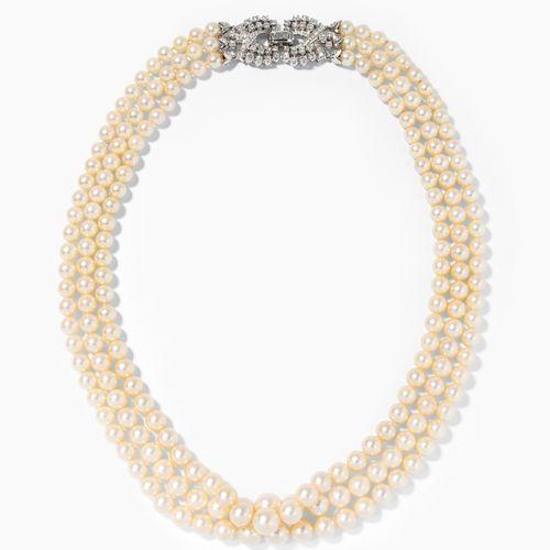 Kulturperlen Diamant Collier Collier de perles de culture et de diamants  Italie…