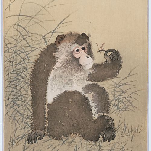 Ohara Koson (1877–1945) 大原康生(1877 1945)  木刻。签名。坐着的猴子在抓一只甲虫。34,5x19厘米。 状况不佳。