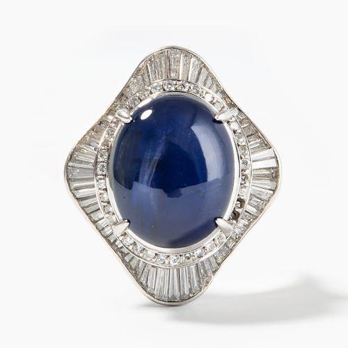 Sternsaphir Diamant Ring Bague saphir étoile diamant  Milieu du XXe siècle. Plat…