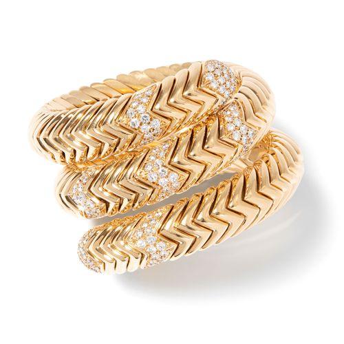"Bulgari Armspange ""Spiga"" Bulgari ""Spiga"" bangle  Signé. Or jaune 750. Bracelet …"