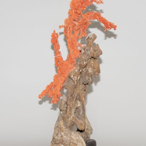 Zierfigur 观赏性人物  中国,20/21世纪,粉红珊瑚在死珊瑚石上,有化石的内含物。在未经处理的毛石上雕刻的盛开的梅花树。高53厘米。有木质底座。