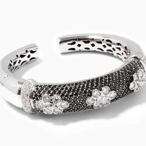 Brillant Armspange Bracelet en diamant  Or blanc 750. Pavé de brillants noirs d'…