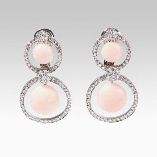 Korallen Brillant Ohrclips Boucles d'oreilles en diamant corail  Or blanc 750. 4…