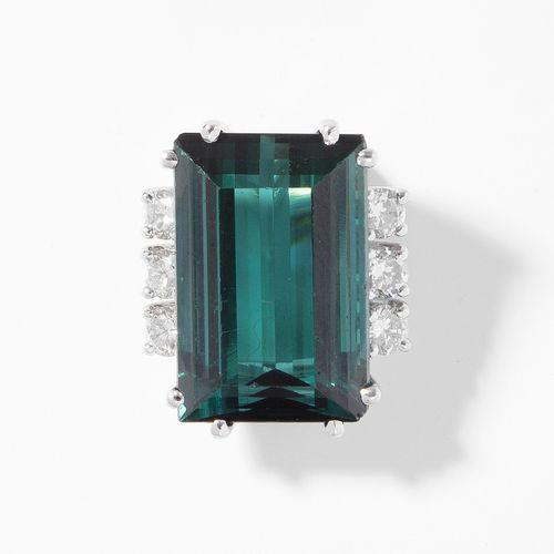 Turmalin Brillant Anhänger 碧玺钻石吊坠  750白金。精致的绿色碧玺约12克拉和6颗明亮的宝石约0.60克拉。