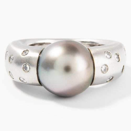 Kulturperlen Brillant Ring Bague diamant perle de culture  Or blanc 750. Anneau …