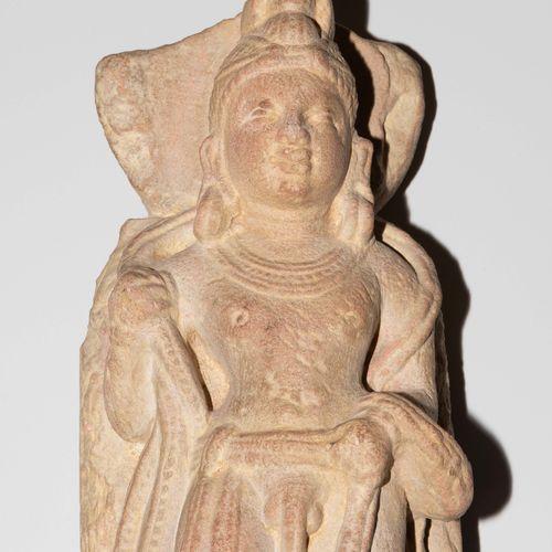 Relieffragment Fragment de relief  L'Inde. Style Gandara. Grès rouge. Bodhisattv…