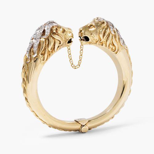 Brillant Armspange Bracelet en diamant  Or jaune 750/tlw. Rhodié. Deux têtes de …