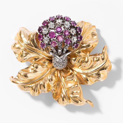 Rubin Diamant Brosche Broche en diamant rubis  Milieu du XXe siècle. Or jaune/ar…