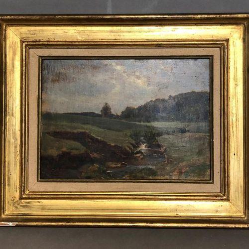 Henri ZUBER (1844 1909) La rivière Luppach à Ferrette Huile sur panneau, signé e…